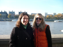 Photo of two women on the South Bank