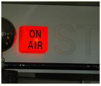 Image of recording studio 'on air'