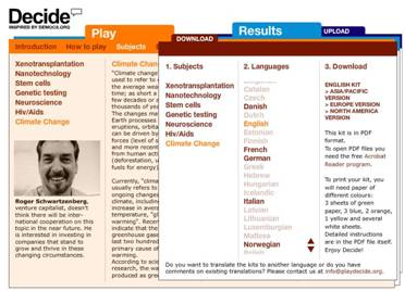 Screenshot from the www.playdecide.org website