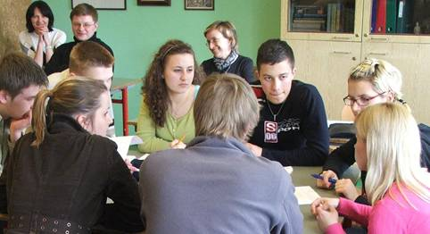Siauliai students take part in a history debate in English