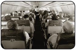 An image of passengers on a plane