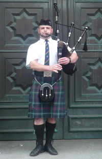 A person playing the bagpipes