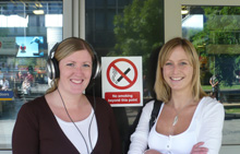 Photo in front of a 'No smoking' sign